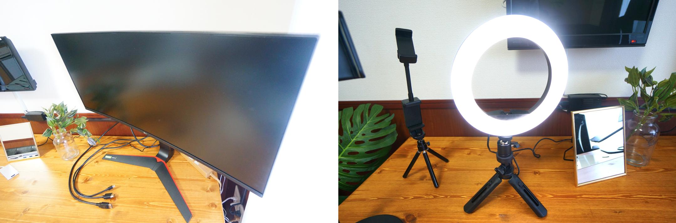 ミニマルオフィス無料設備のモニターとリングライト画像